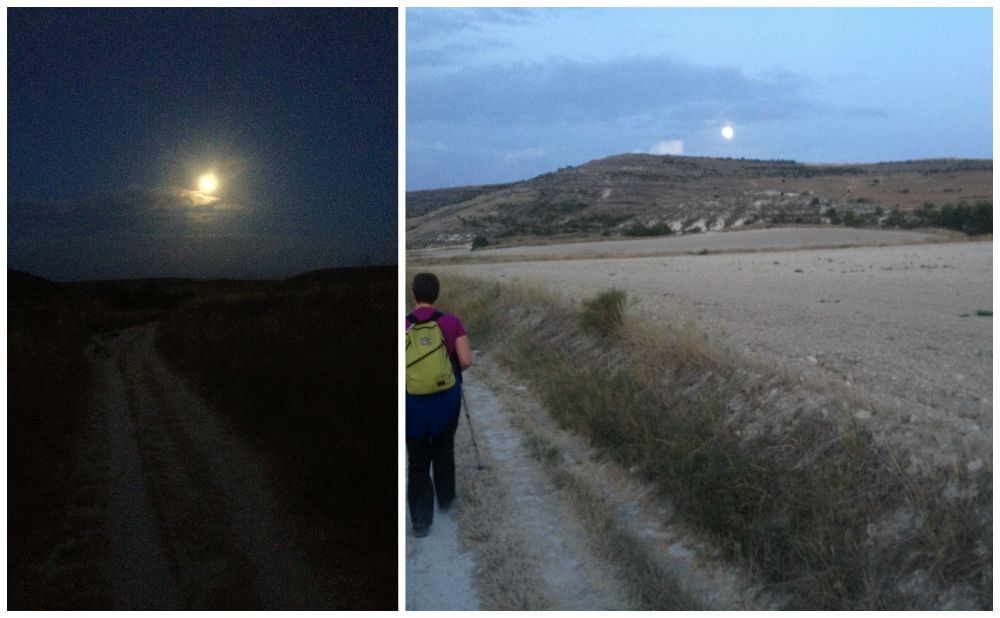 Walking by moonlight on the way of the Camino