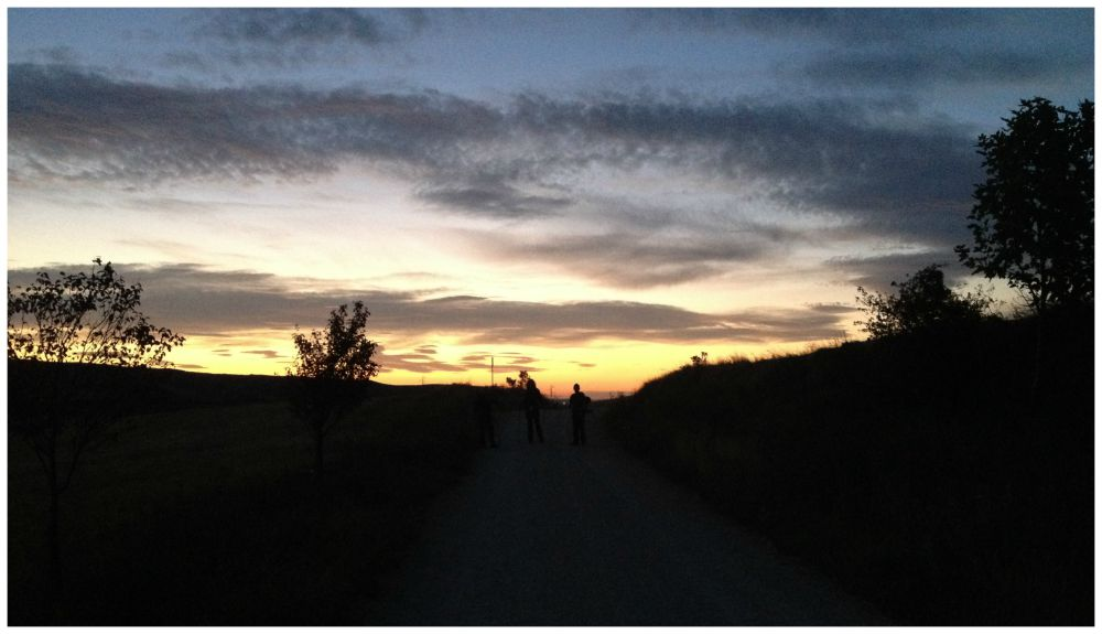 Walking early morning on the Camino