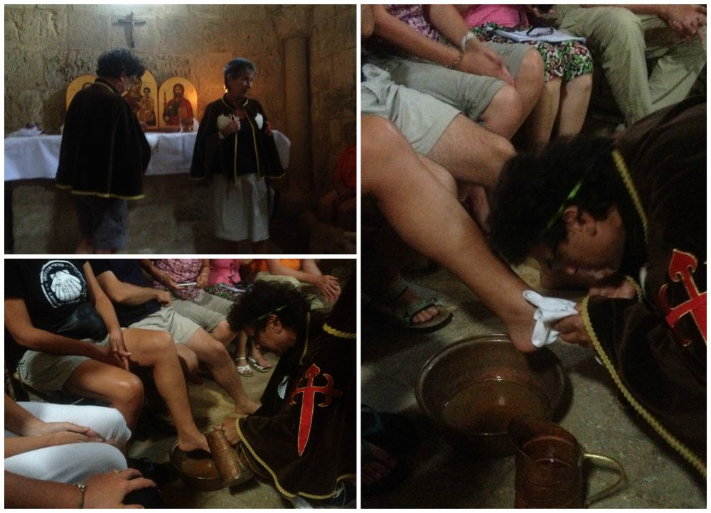 Washing and blessing the pilgrims feet