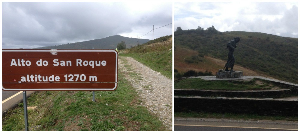 Alto San Roque at 1270 m on the Camino was wet and windy