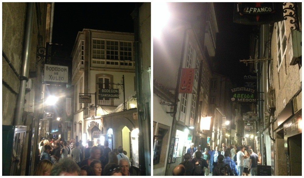 Busy Santiago streets at night