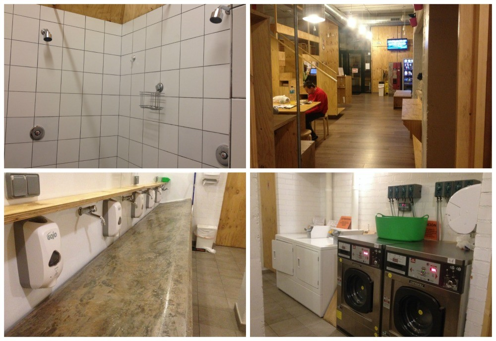 communal sinks and showers, washers, dryers and a kitchen in the Albergue de Selmo