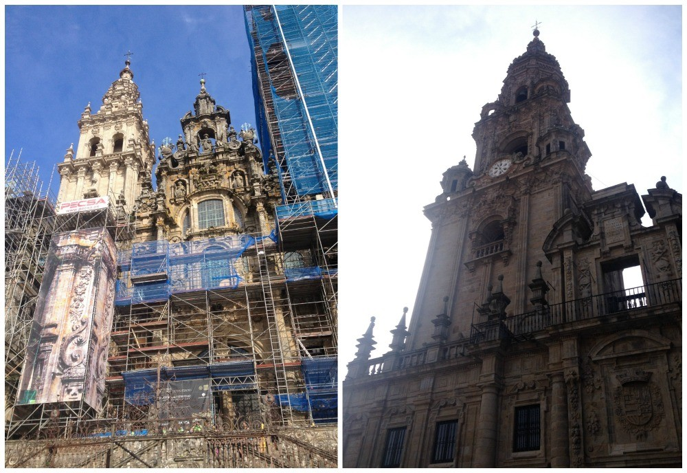Different views of the Santiago de Compostela Cathedral