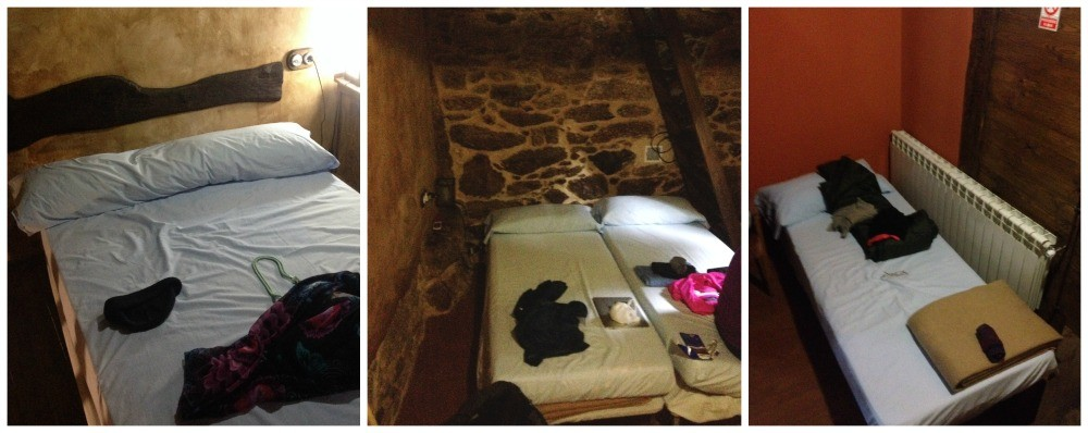 Double bed upstairs and three singles down, with a bathroom