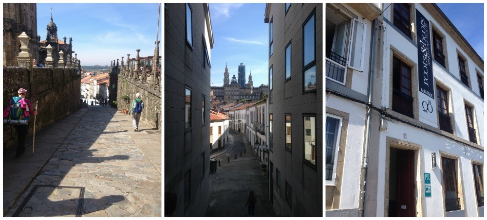 Leaving the Obradoiro square, the view back towards the Cathedral de Santiago, and our albergue Roots & Boots