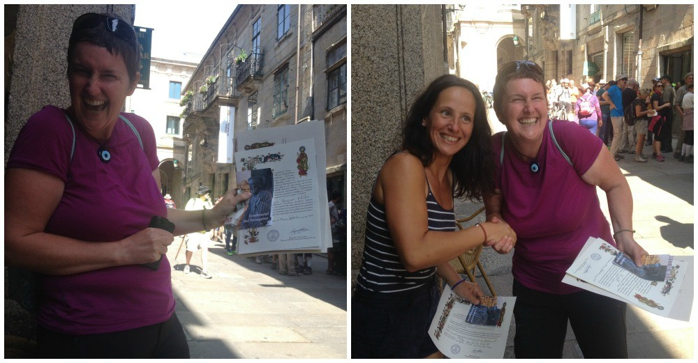 Moni collected our Compostelas and then ceremonially handed them out