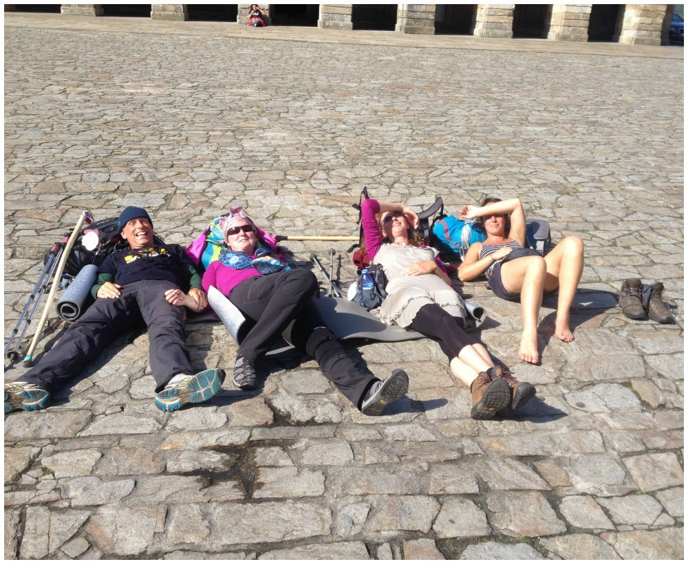 Relaxing on the stones of Santiago in front of the cathedral