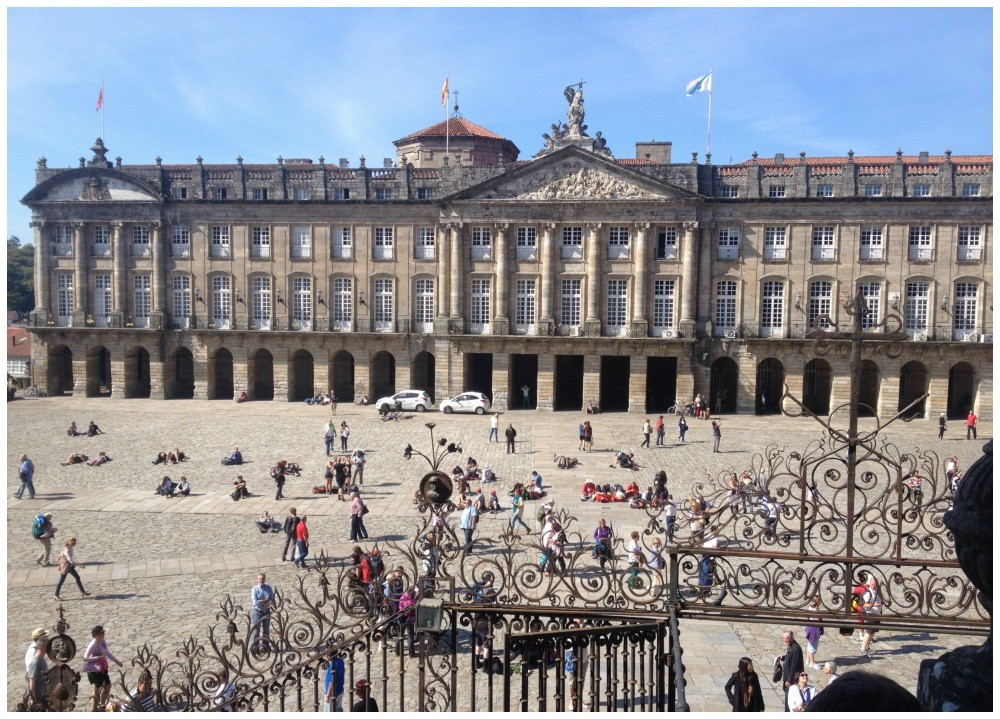 The Obradoiro square from the Santiago de Compostela Cathedral