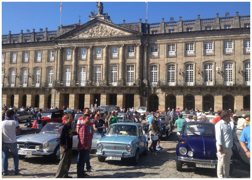 The Obradoiro square full of old timer cars today, not so good for all the Pilgrims