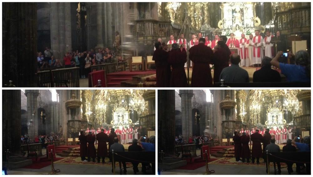The Santiago de Compostela Botafumeiro swinging by