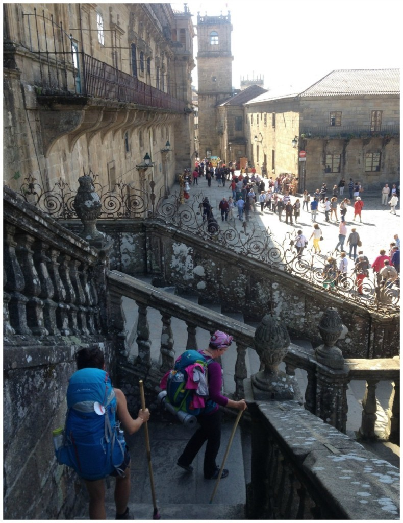 Walking down the steps of the Santiago de Compostela Cathedral to the Obradoiro square