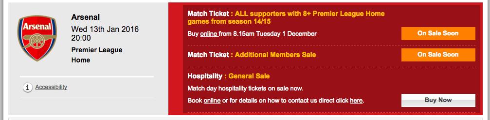 Arsenal tickets from LFC webiste