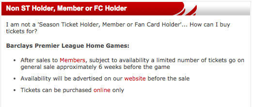 Information when trying to buy tickets and NOT a member of LFC