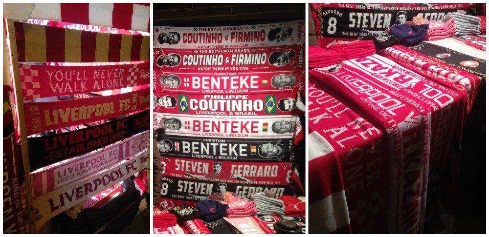 LFC Scarfs and hats for sale outside the stadium
