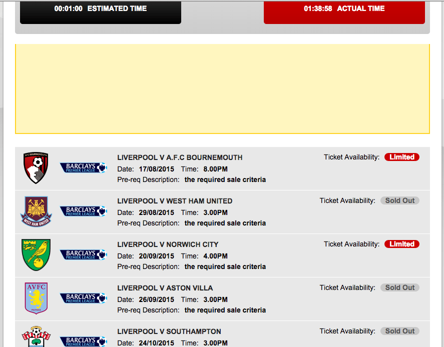 LFC website showing ticket availability