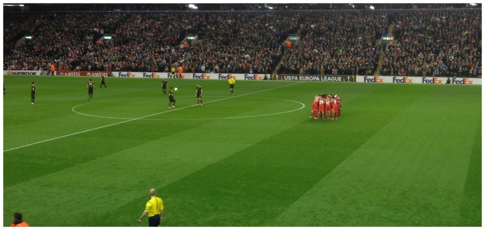 Liverpool team huddle before the Ruban Kazan Europa League game