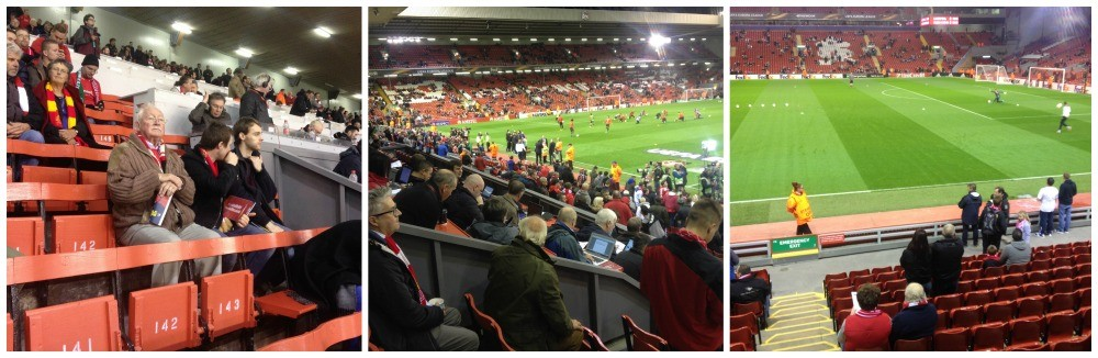 Old & young fans, the Press box and as close as I got to the pitch