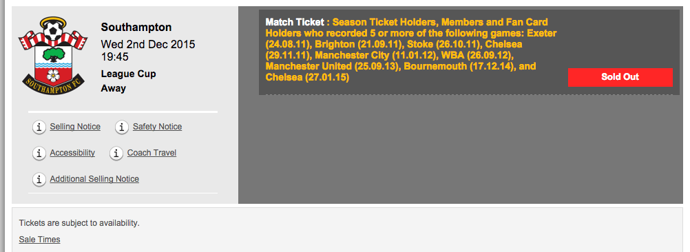 Southampton Cup game tickets from LFC website