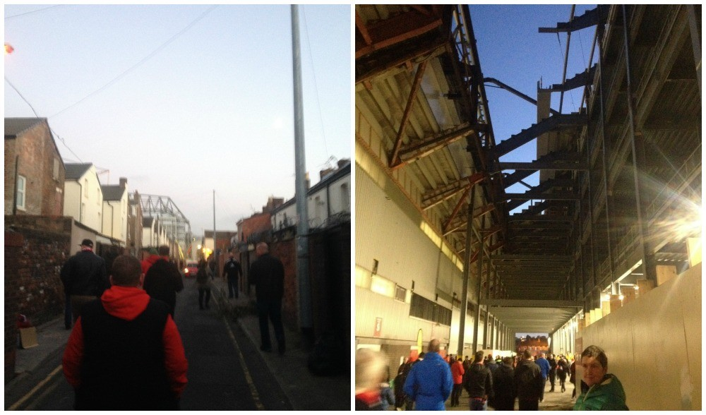 The new main stand construction from the streets and then underneath