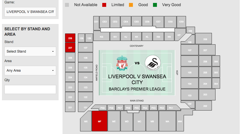 The screen display when buying tickets from the LFC website
