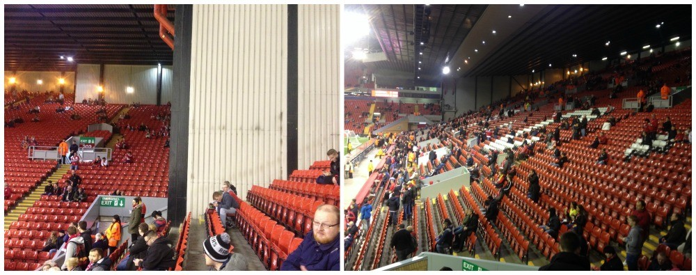 The view along to the Kop end and the Kop as seen from the main stand
