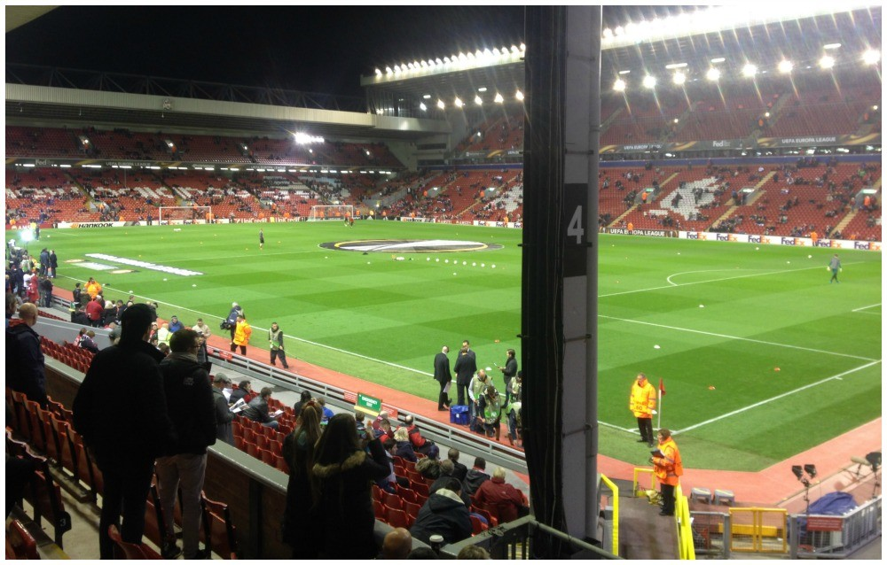 The view from the Main stand corner nearest to the Kop