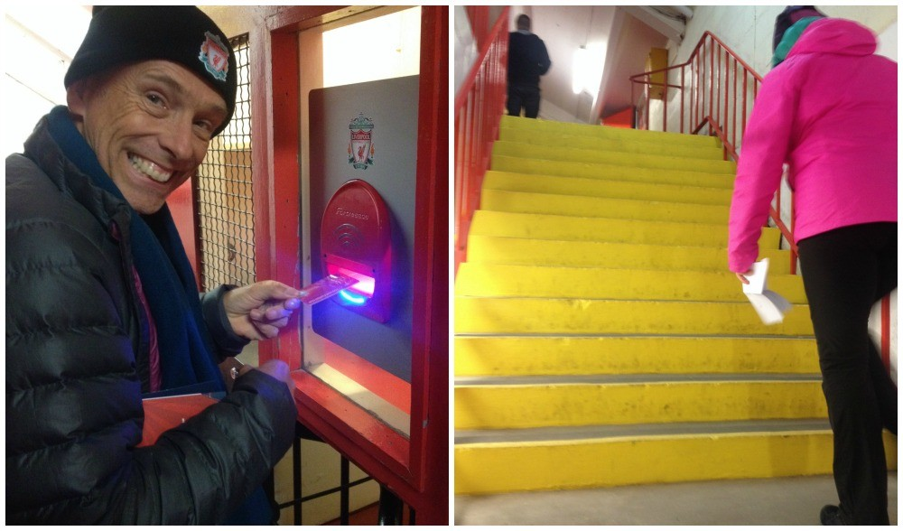 Through the turnstiles and up the steps