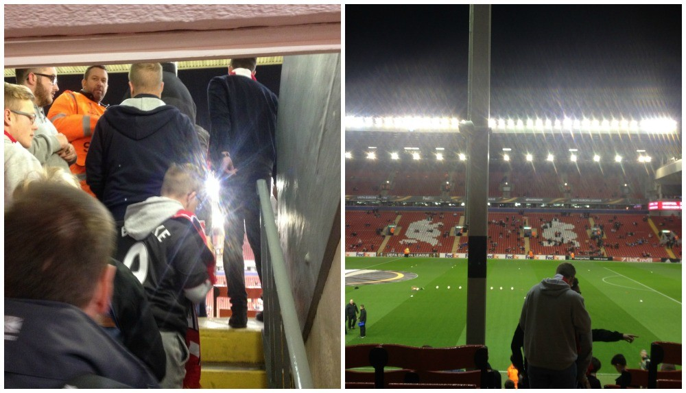 Up more steps and finally out to the first glimpse of Anfield pitch
