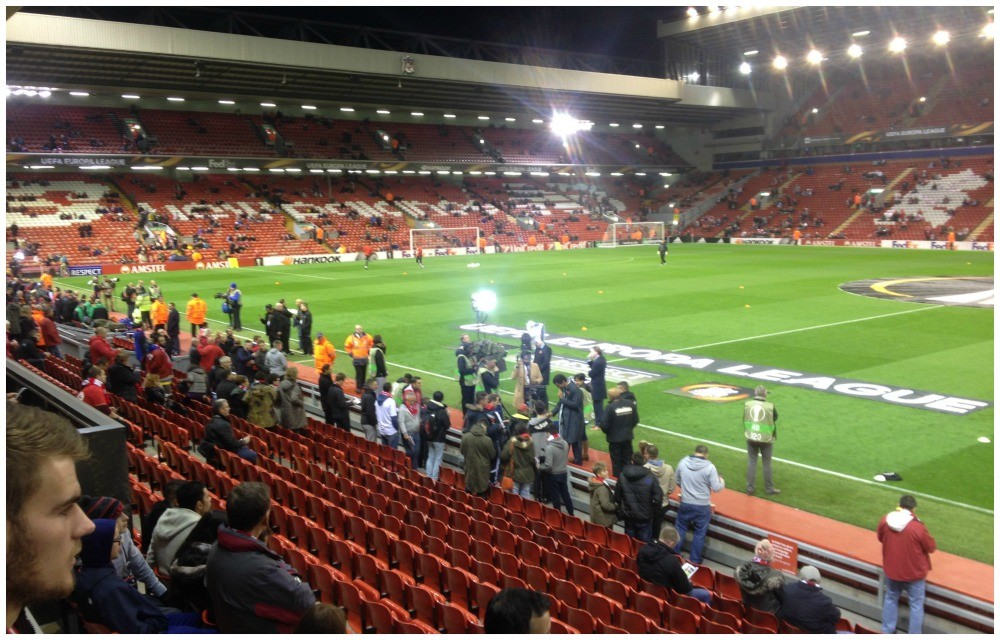 pre game TV reporters at Anfield