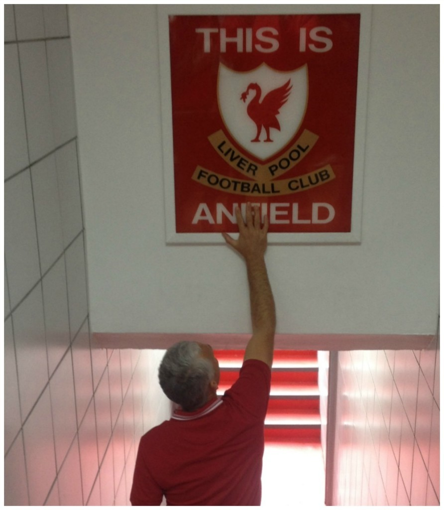 A dream come true, touching the THIS IS ANFIELD sign