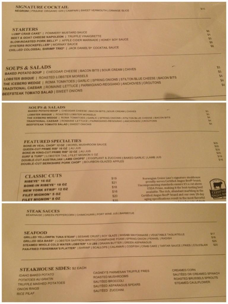 Cagney's Steakhouse menu on Escape