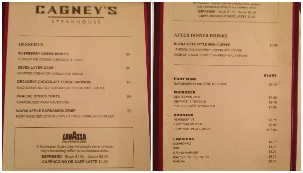 Cagney's dessert menu