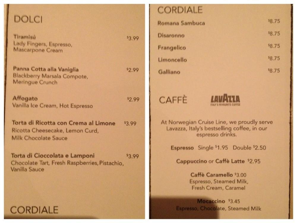 Dessert menu at La Cucina on Norwegian Escape