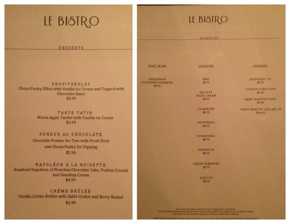 Dessert menu at Le Bistro