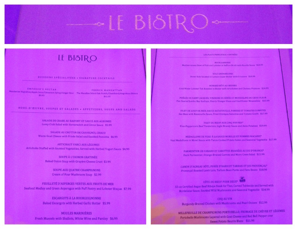 Menu from the French Restaurant Le Bistro on NCL Escape