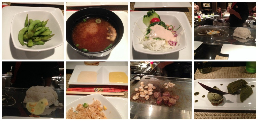 NCL Escape Teppanyaki dishes from our dinner