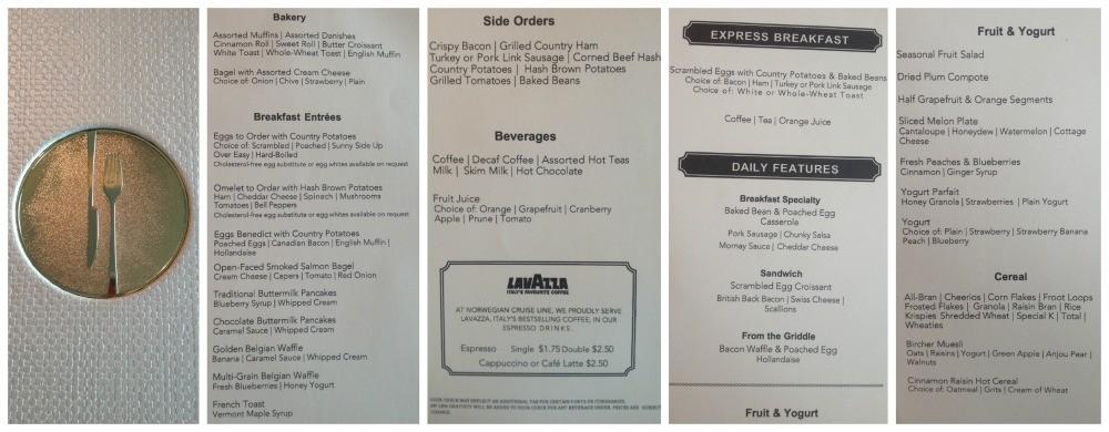 NCL Escape breakfast menu in Savor & Taste