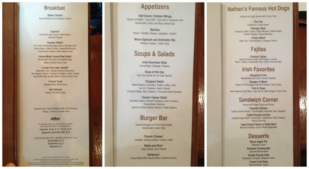 O'Sheehan's Bar & Grill menu on NCL Escape