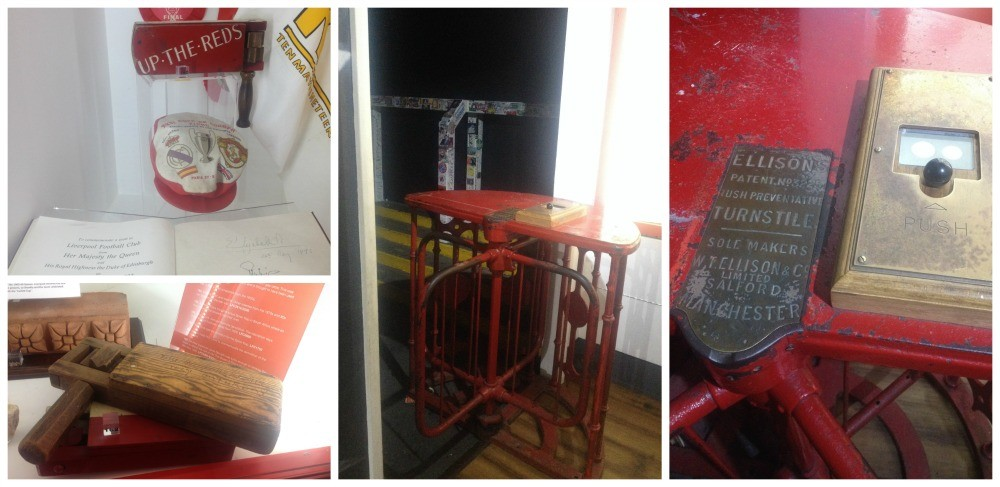 Original turnstile from the Kop, notes from the Queen and a WW1 Gas Rattle used at the games