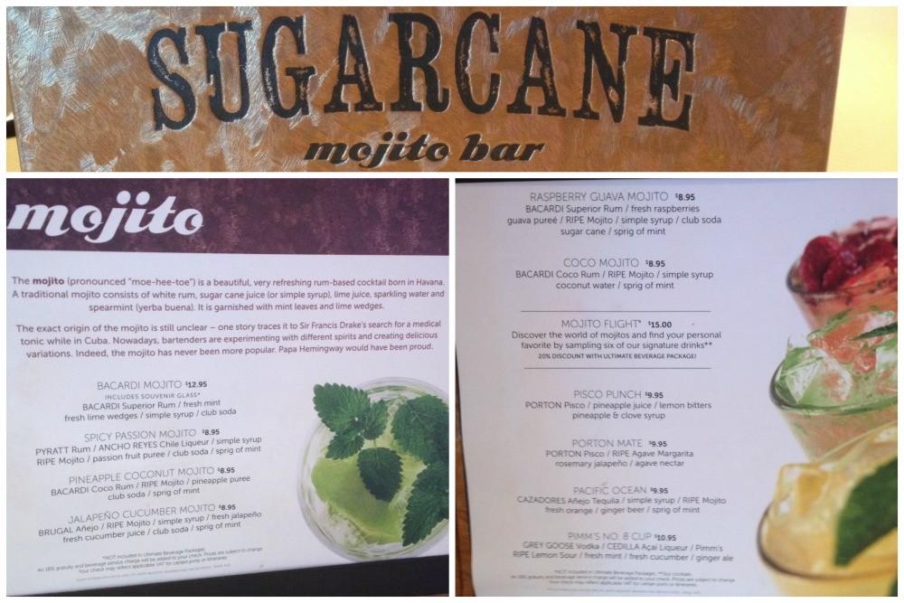 Sugarcane Mojito bar menu on NCL Escape