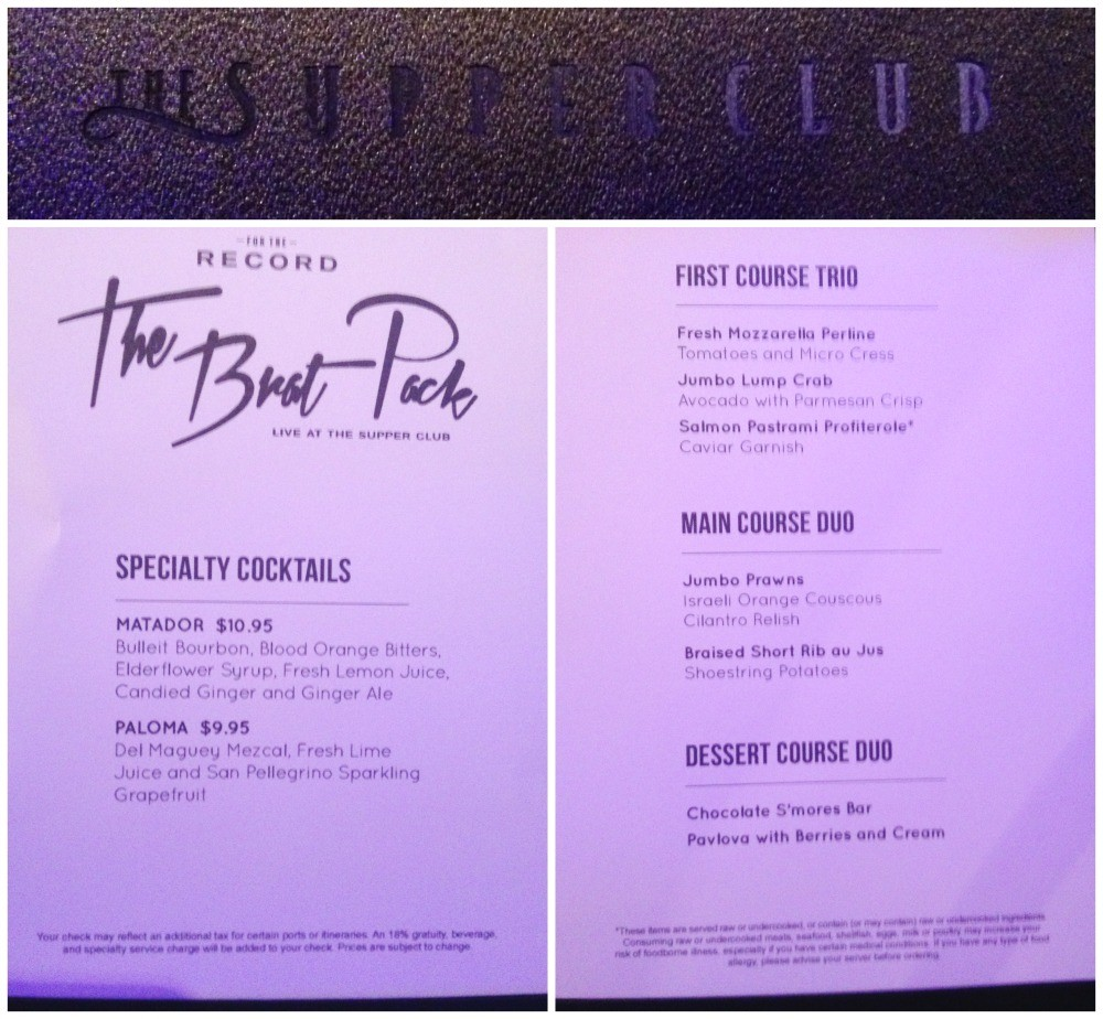 The Supper Club - The Brat Pack dinner menu on Escape