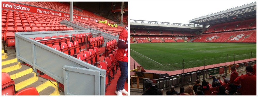The dug outs and a view from the Kop end at Anfield