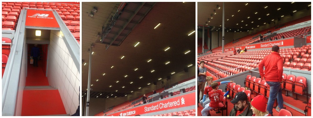 The players tunnel, the commentary gantry above the Main Stand and the dug outs at Anfield
