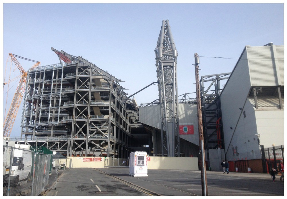 The stadium expansion to the Main Stand in progress