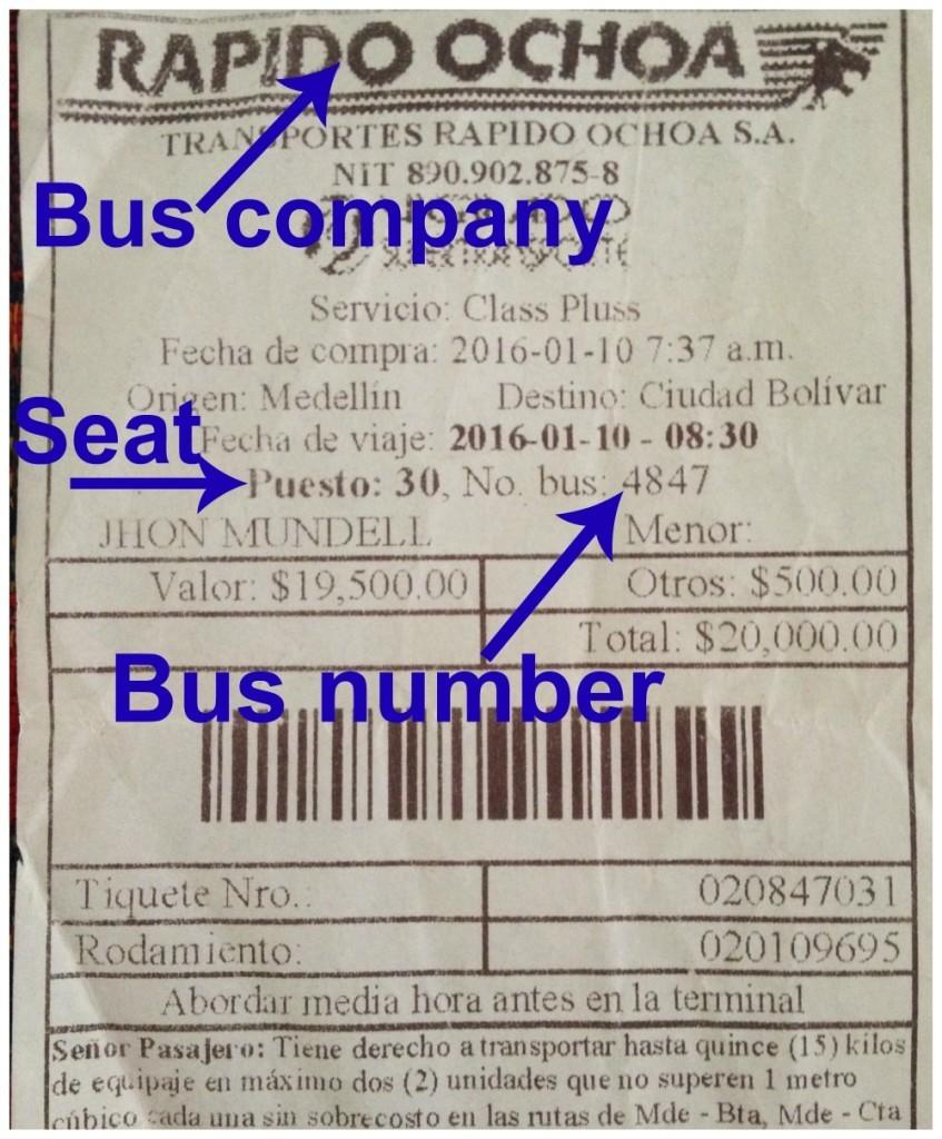 Colombian bus ticket Medellin to Ciudad Bolivar