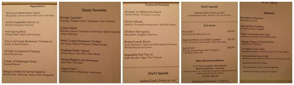 Dinner menu in Taste on Escape