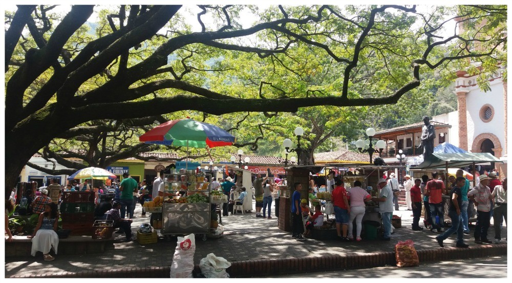 Little street stalls in the square