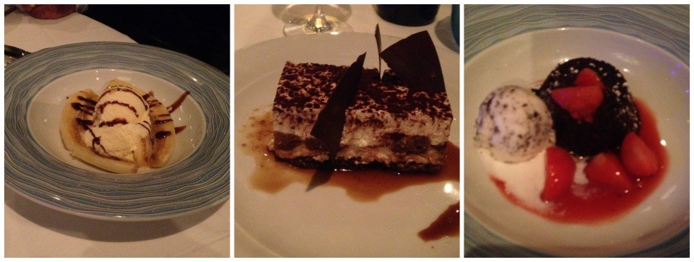Selection of desserts from the main dining room on the Escape