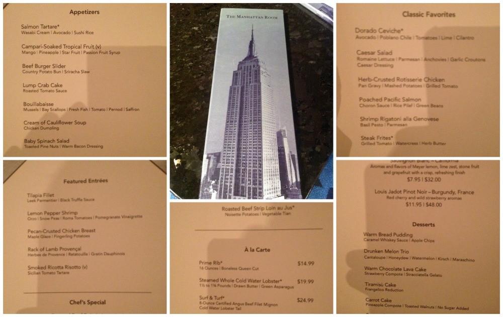 The Manhattan Room menu on NCL Escape