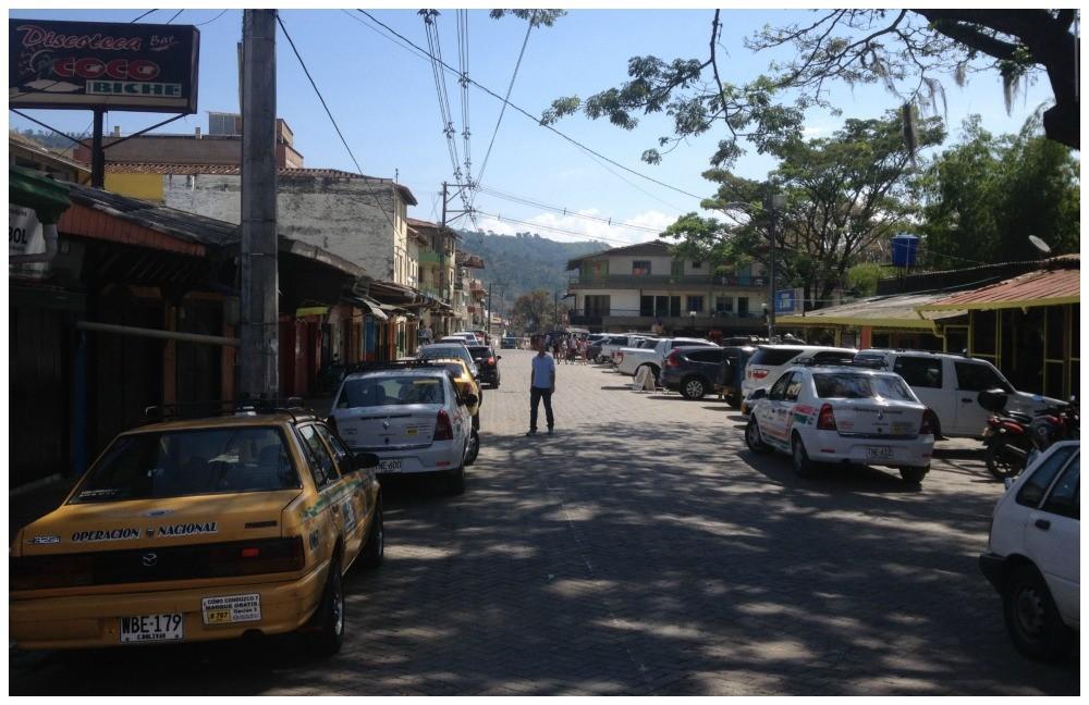 The main road in and through Ciudad Bolivar, Antioquia